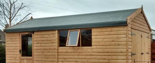 Green felt roof